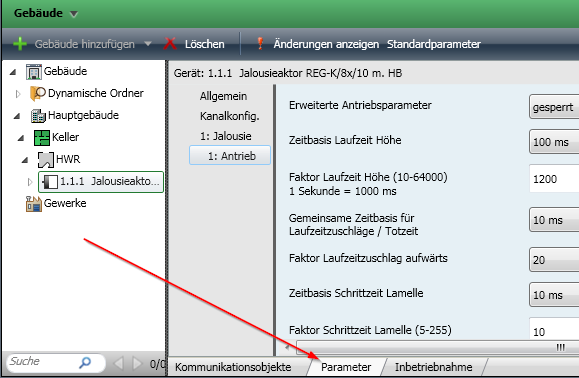 ETS4 Parameter konfigurieren