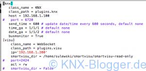 Die Konfiguration von SmartHome.py. Das KNX Plugin stellt die Verbindung zum EIBD her. Das smartVisu Plugin sichert die Verbindung zur Visualisierung.