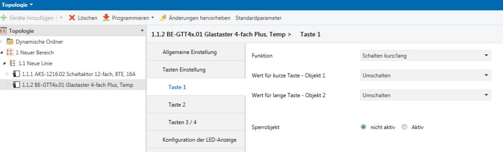MDT KNX-Taster-Licht Parametrisierung der Tasten im MDT Glastaster