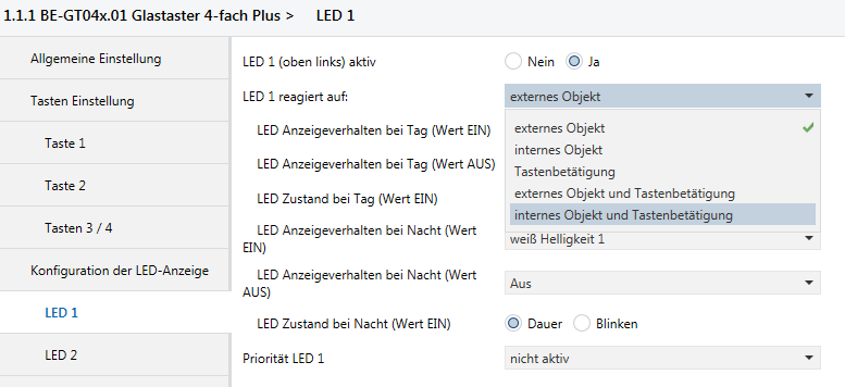 MDT Glastaster - LED Einstellungen