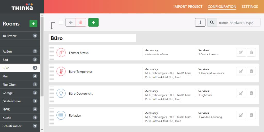 Das Thinka Web-Interface. Einfach und intuitiv zu bedienen.