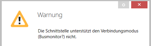 Fehler, wenn die IP-Schnittstelle keine Verbindung zum KNX-Bus herstellen kann.